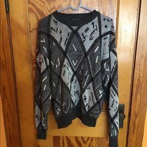 Vintage 80s diamond pattern artistic sweater